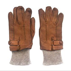 Vintage Leather Wool Cuff Hatch Stitch Gloves